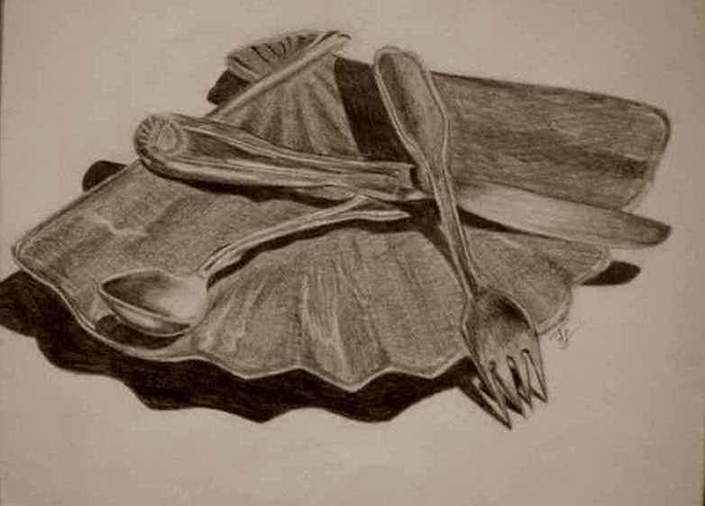 Still Life Drawing - Silverware by Tiffany Lammers