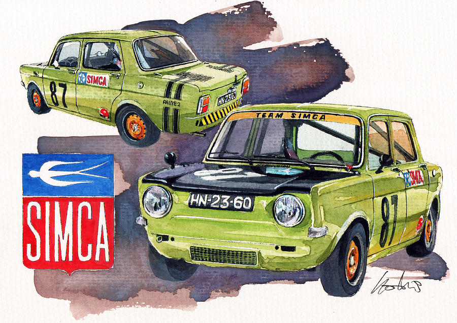 simca 1000 rallye 2 painting by yoshiharu miyakawa. Black Bedroom Furniture Sets. Home Design Ideas
