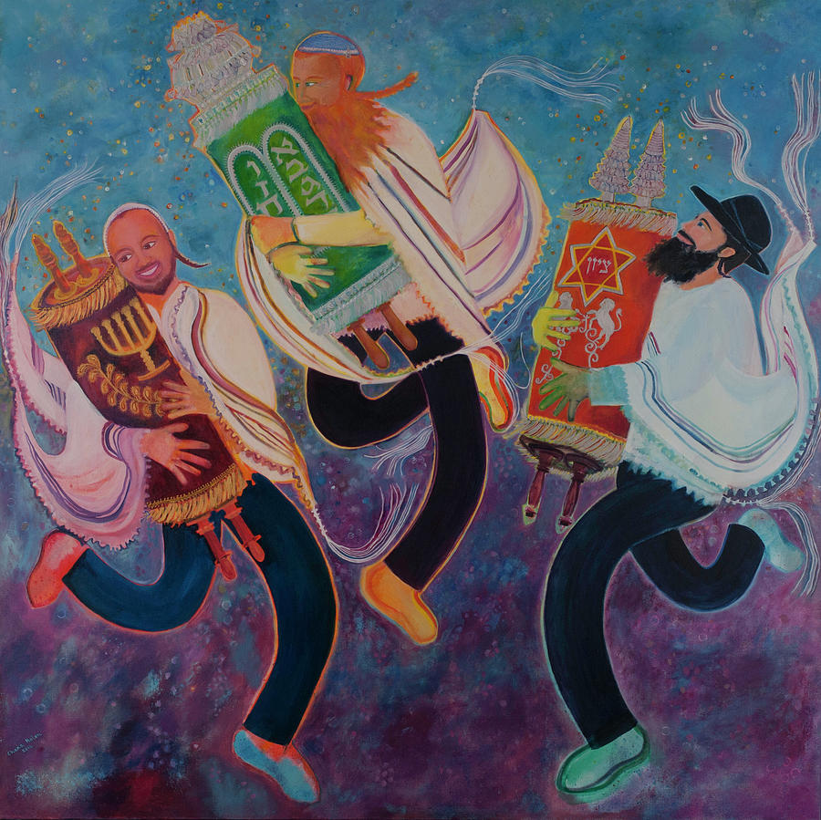Simchat Torah Painting - Simchat Torah 2 by Chana Helen Rosenberg