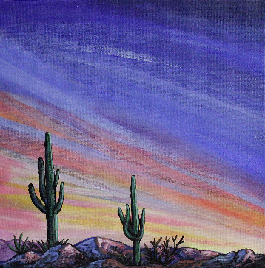Simple Desert Sunset Three Painting By Lance Headlee