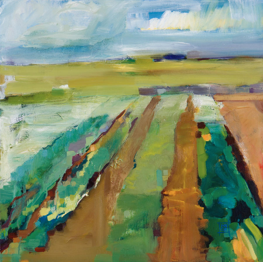 Impressionistic Landscape Painting - Simple Fields by Michele Norris