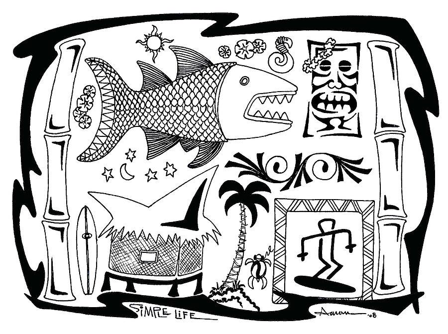 Tiki Digital Art - Simple Life by Aaron Bodtcher