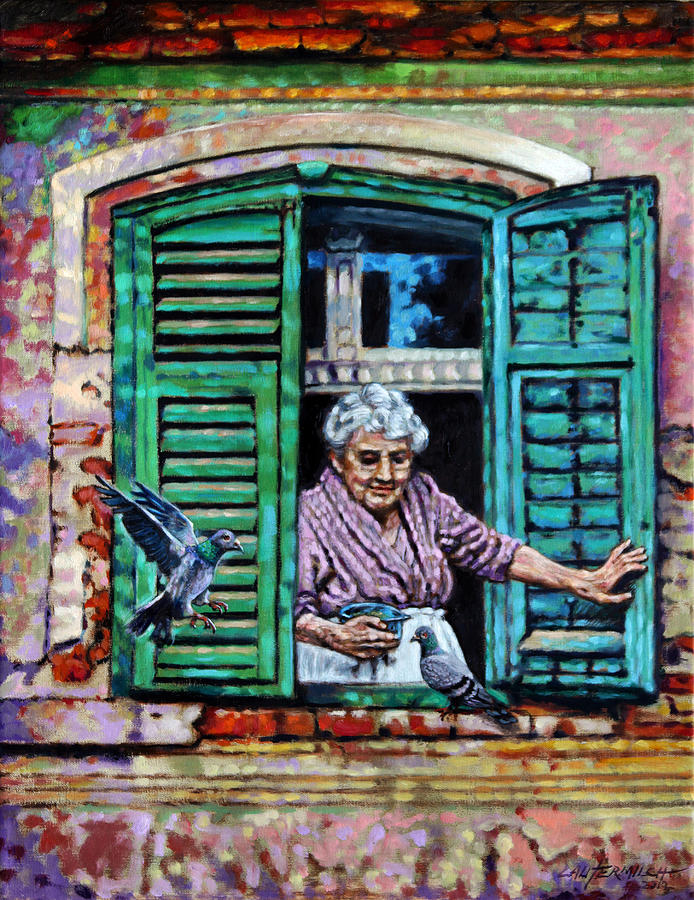 Woman Painting - Simple Pleasures by John Lautermilch