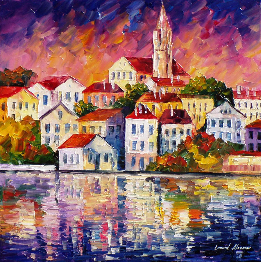 Art Gallery Painting - Simple Town - Palette Knife Oil Painting On Canvas By Leonid Afremov by Leonid Afremov