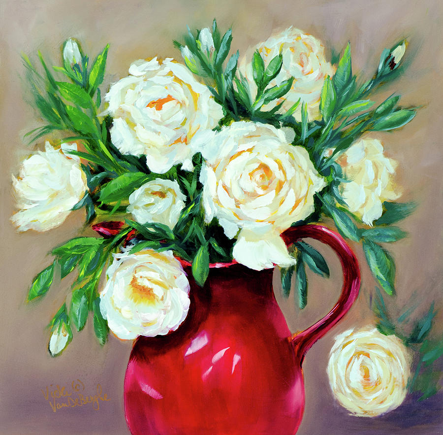 Simple White Roses by Vicki VanDeBerghe