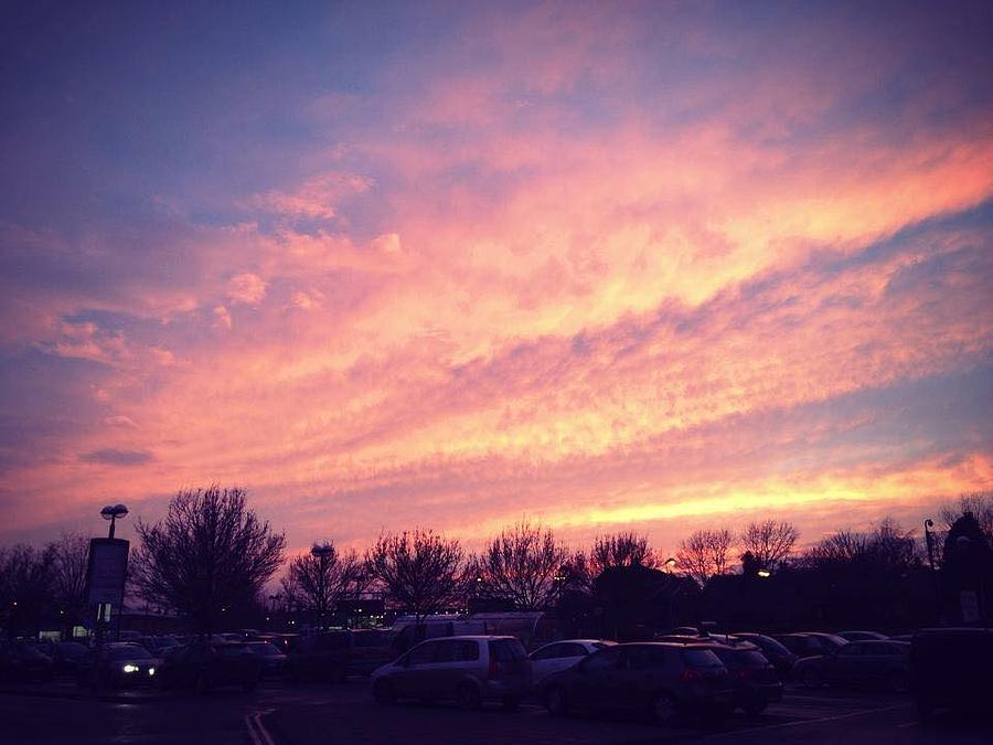 Sunset Photograph - The Beauty Of A Supermarket Parking Lot by Rossana Azzoni