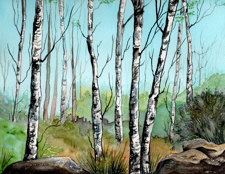 Landscape Painting - Simply Birches by Brenda Owen