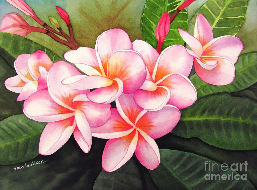 Simply Divine Plumeria Watercolor Painting By Hao Aiken