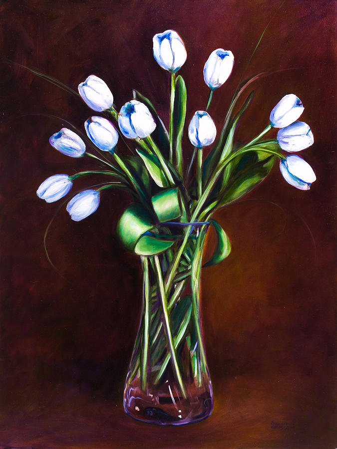 White Painting - Simply Tulips by Shannon Grissom