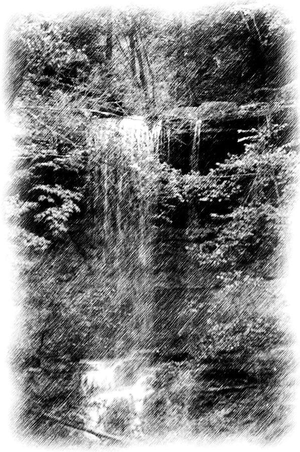 Digital Photograph Photograph - Simulated Pencil Drawing Tinker Falls. by David Lane