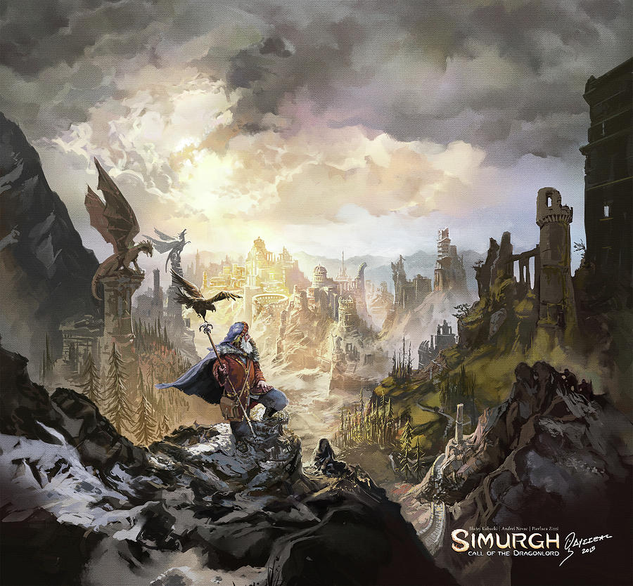 Fantasy Painting - Simurgh Call Of The Dragonlord by Odysseas Stamoglou