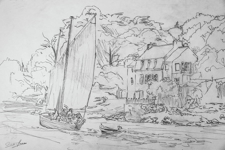 Boat Drawing - Sinagot At The Pink House Vannes France by George Desire Herman
