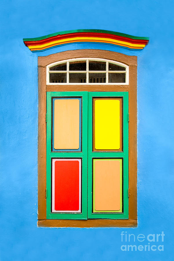 Window Photograph - Singapore Blue Window by Delphimages Photo Creations