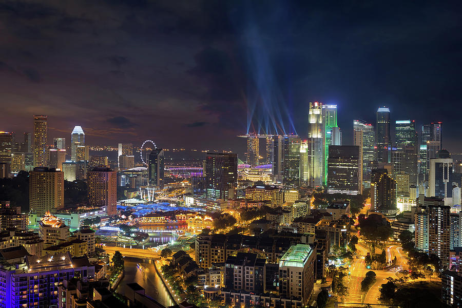 Singapore Photograph - Singapore City Lights by David Gn