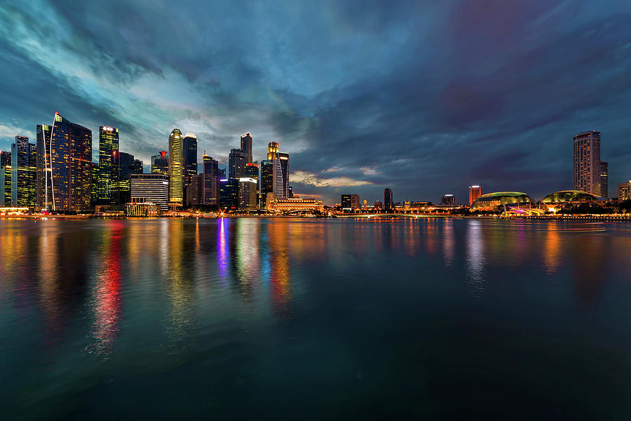 Singapore Photograph - Singapore City Skyline at Evening Twilight by David Gn