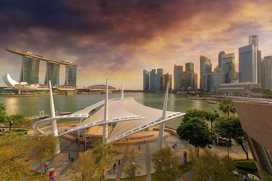 Singapore Photograph - Singapore City Skyline by Marina Bay Sunset by David Gn