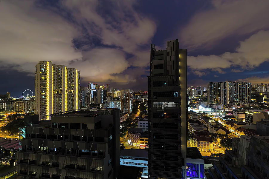 Singapore Photograph - Singapore Cityscape On A Cloudy Night by David Gn