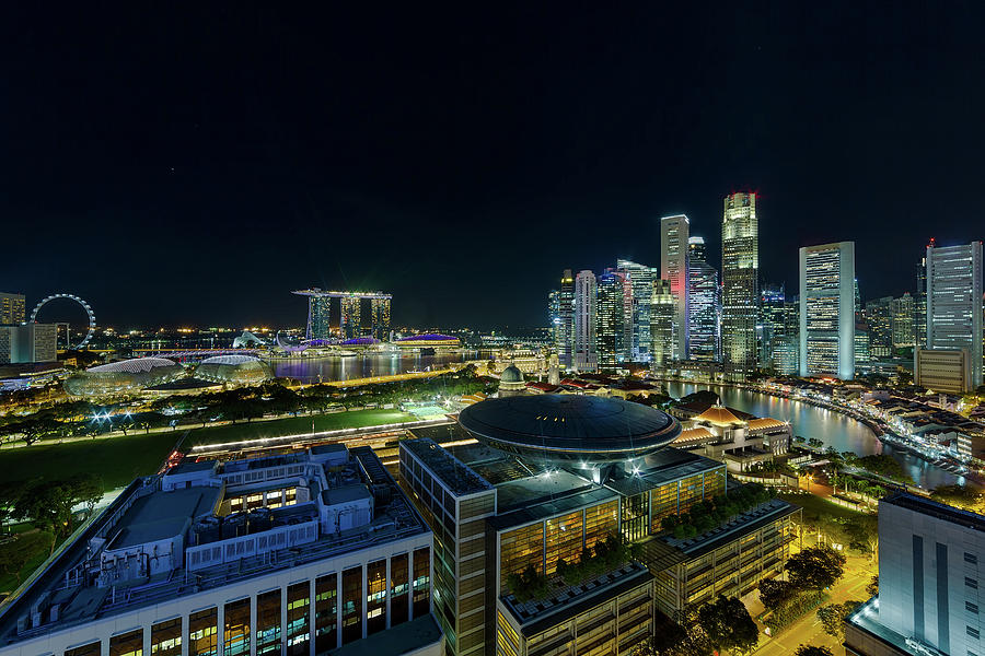 Singapore Photograph - Singapore Modern Skyline By The River At Night by David Gn