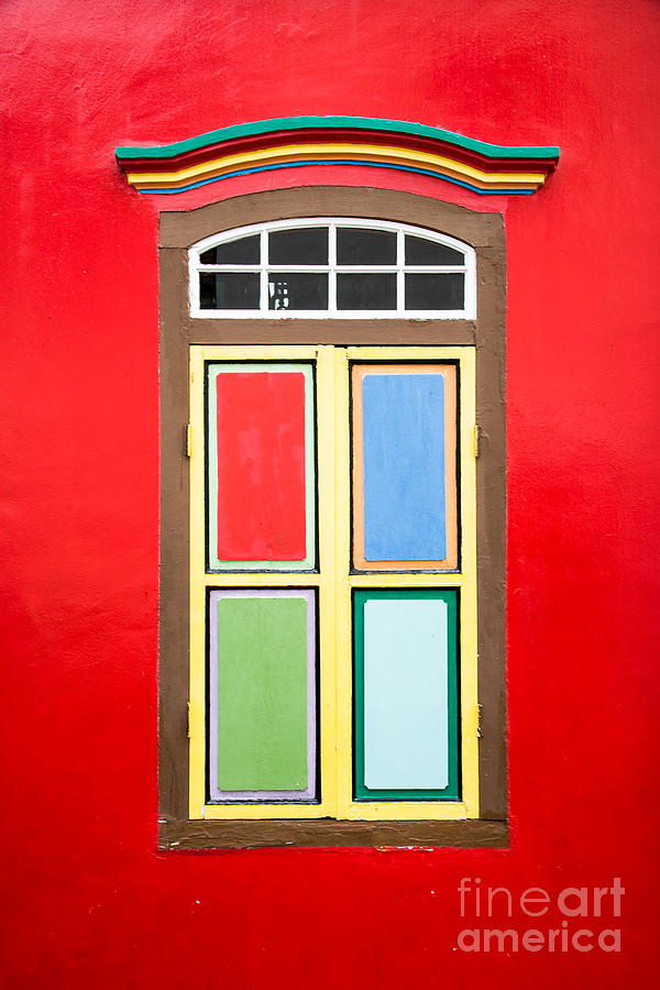 Window Photograph - Singapore Red Window by Delphimages Photo Creations