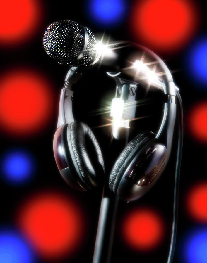 Studio Photograph - Singer Stage Microphone by Jerry Bernard