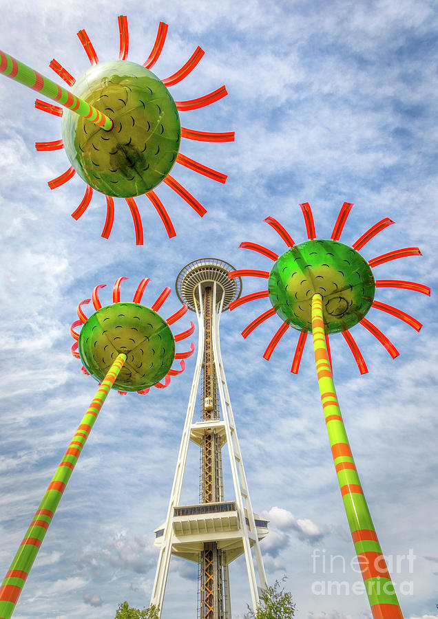 1962 World's Fair Photograph - Singing Flowers Under The Space Needle by Jerry Fornarotto
