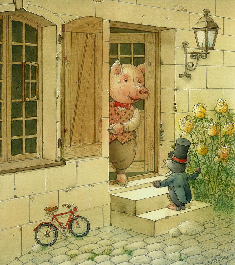 Singing Piglet Drawing by Kestutis Kasparavicius