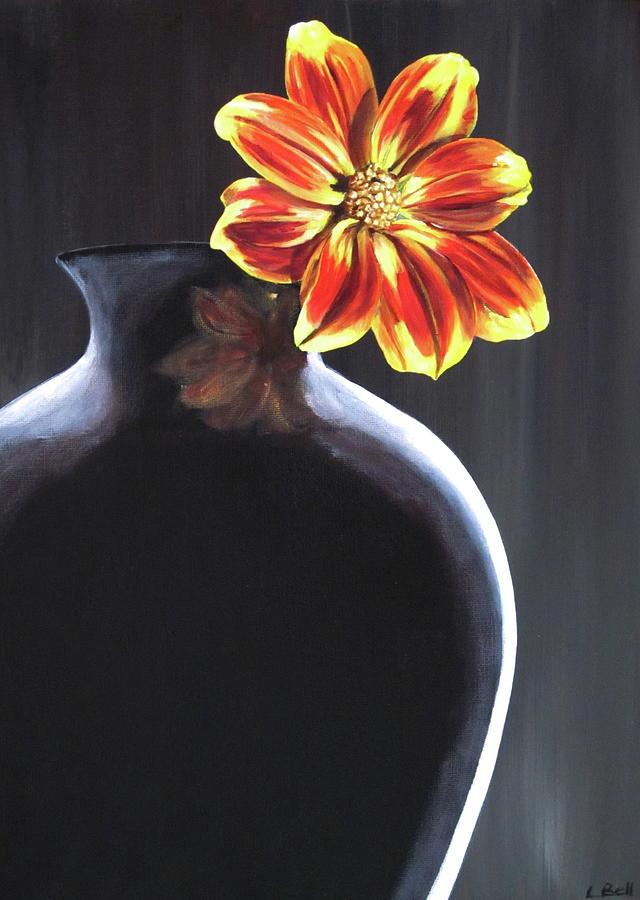 Flower Painting - Single Flower In Black Vase by Lillian Bell & Single Flower In Black Vase Painting by Lillian Bell