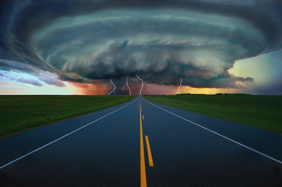 Climate Photograph - Single Lane Road Leading To Storm Cloud by Don Hammond