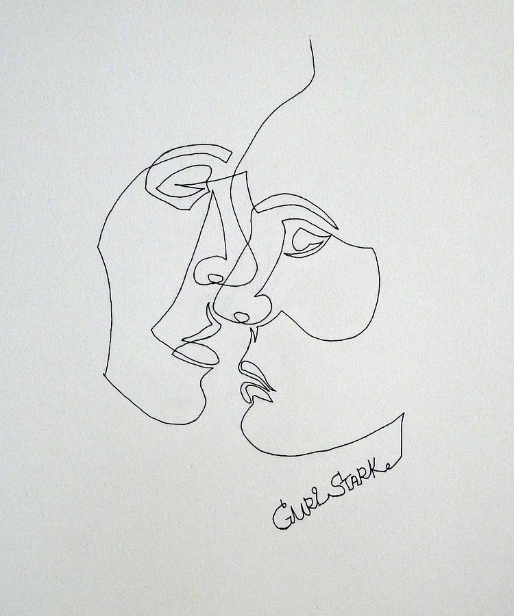 Single Line Drawing - Single-line Love by Guri Stark