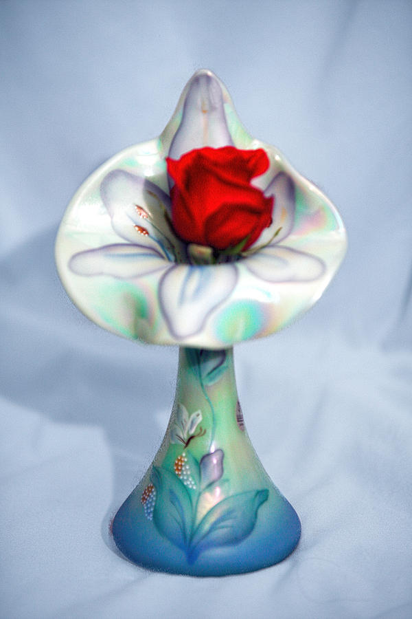 Single Red Rose Bud In Fenton Vase Photograph By Linda Phelps