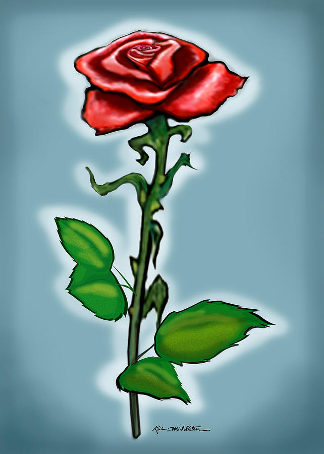 Rose Painting - Single Red Rose by Kevin Middleton