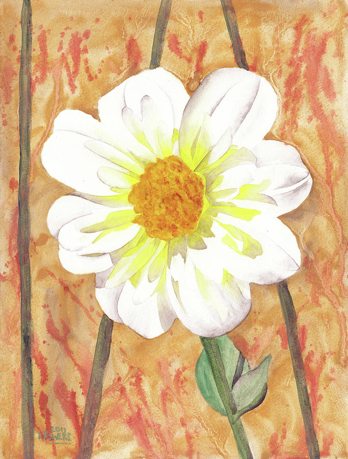 Flower Painting - Single White Flower by Ken Powers