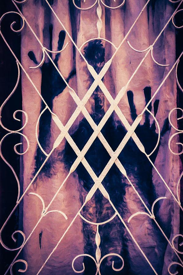 Curtain Photograph - Sinister Figure Painted On A Curtain by Paul Bucknall