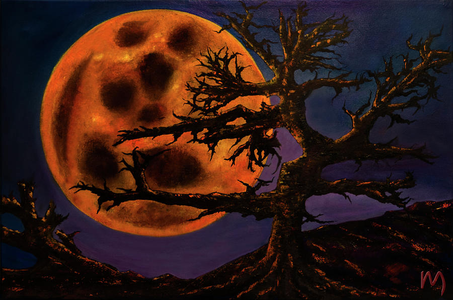 Full Moon Painting - Sinister Moon by Rolly Mouchaty