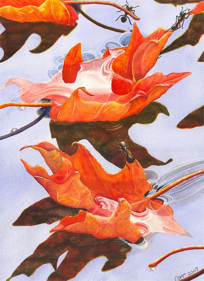 Leaf Painting - Sinking Feeling by Catherine G McElroy