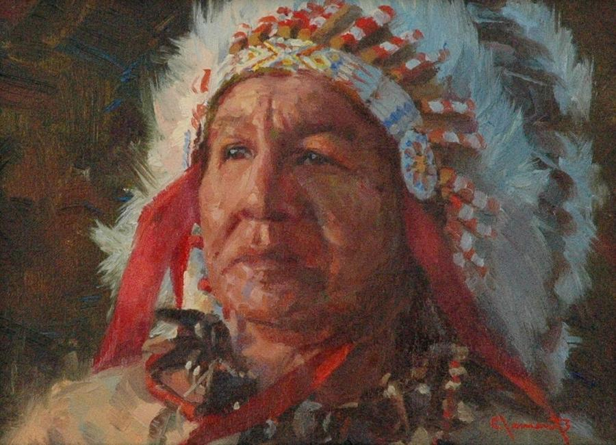 Indian Painting - Sioux Chief by Jim Clements