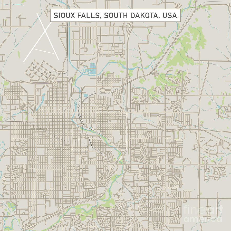 Sioux Falls Digital Art - Sioux Falls South Dakota Us City Street Map by Frank Ramspott