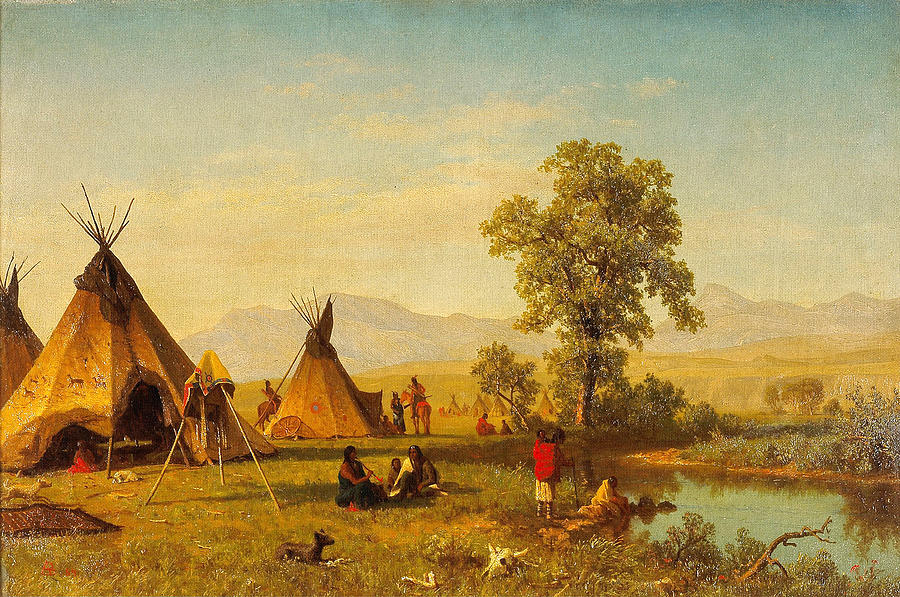 Sioux Village Near Fort Laramie - Native Indian Wall Art Prints ...