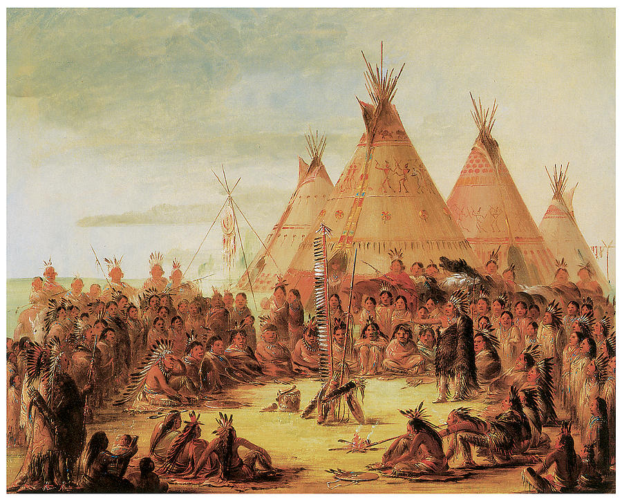 George Catlin Painting - Sioux War Council by George Catlin
