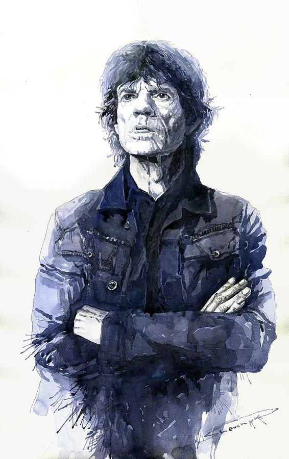 Watercolor Painting - Sir Mick Jagger by Yuriy Shevchuk
