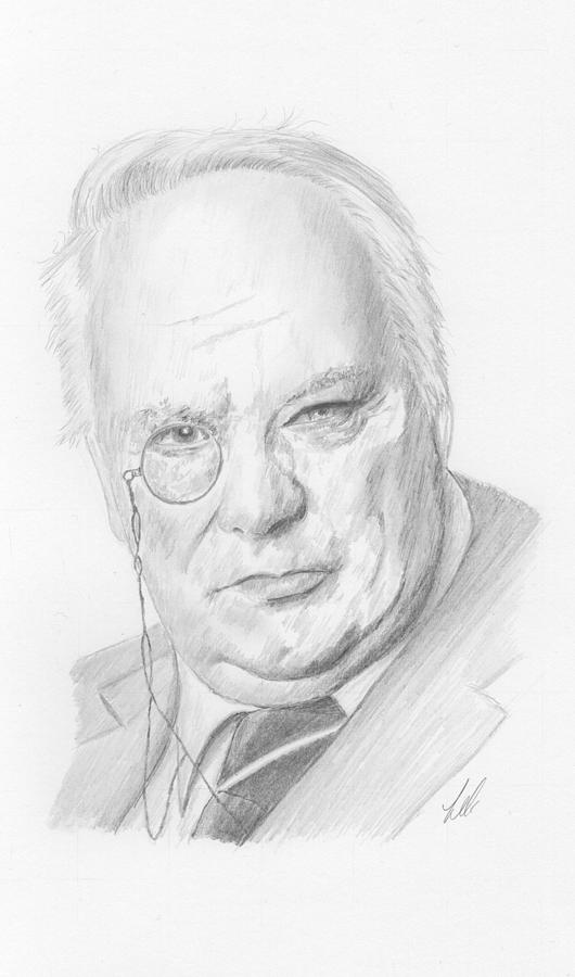 Researcher Drawing - Sir Patrick Moore by Keith Miller