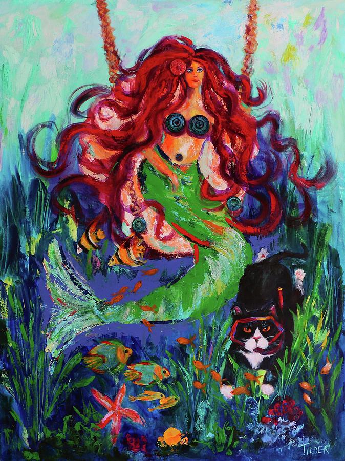 Feline Painting - Sir Walter Goes Snorkeling by Linda Tilden