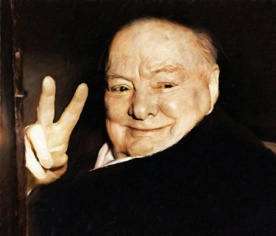 Churchill Painting - Sir Winston Churchill Victory by Vincent Monozlay