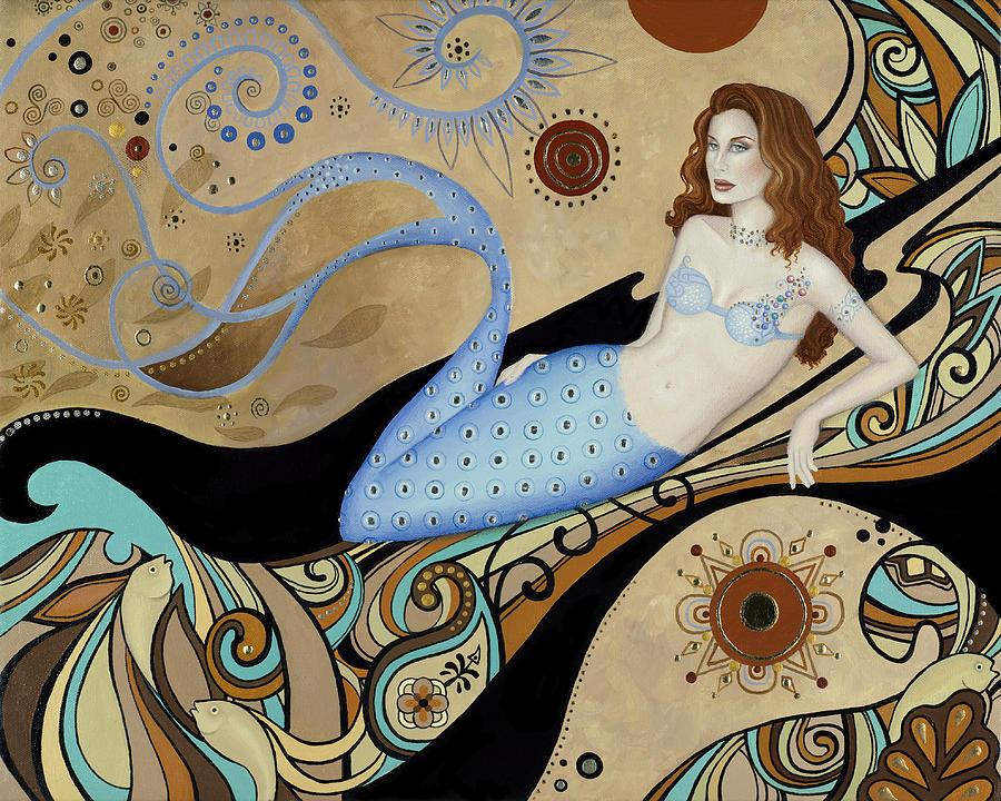 Mermaid Painting - Siren By The Sea by BK Lusk