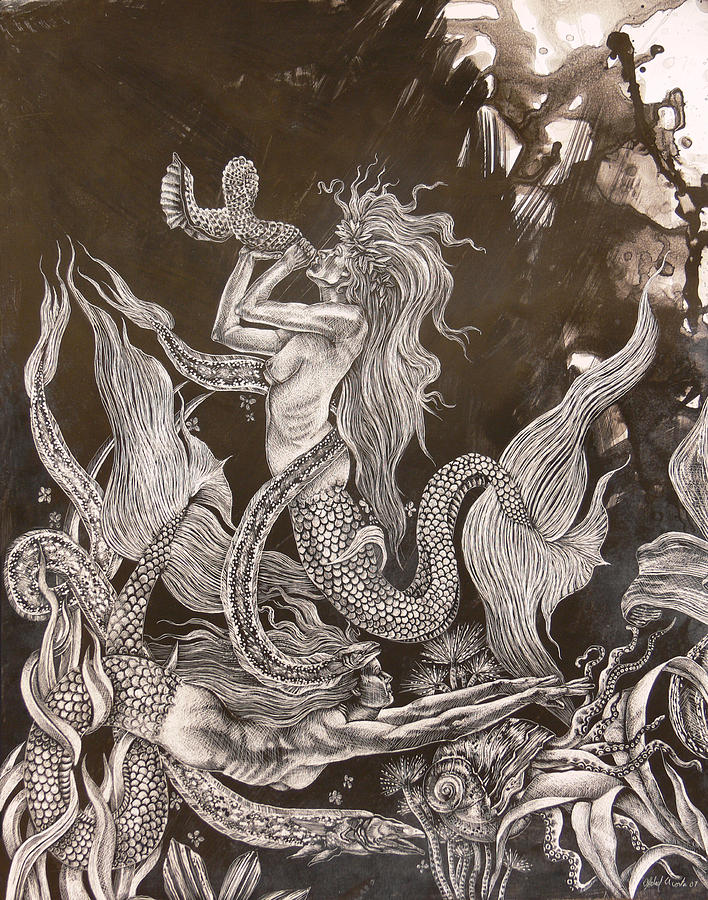 Sirenas Painting by Abdiel Acosta