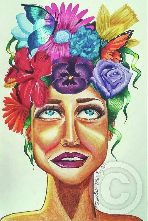 Prismacolor Mixed Media - Sista Nature  by Tameisha Harrington