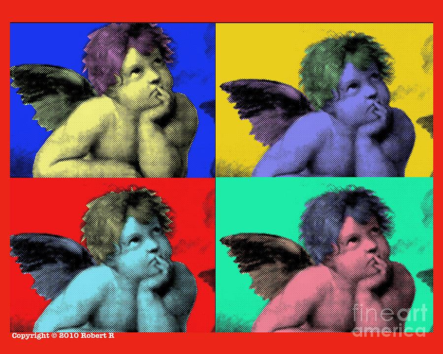Sisteen Chapel Painting - Sisteen Chapel Cherub Angels After Michelangelo After Warhol Robert R Splashy Art Pop Art Prints by Robert R Splashy Art