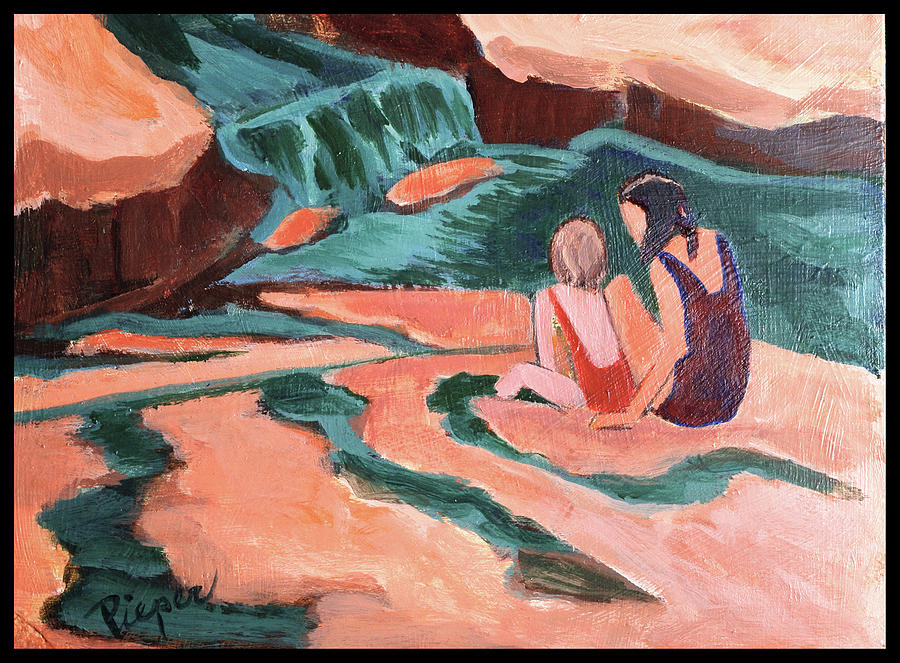 Slide Rock State Park Painting - Sisters At Slide Rock by Betty Pieper
