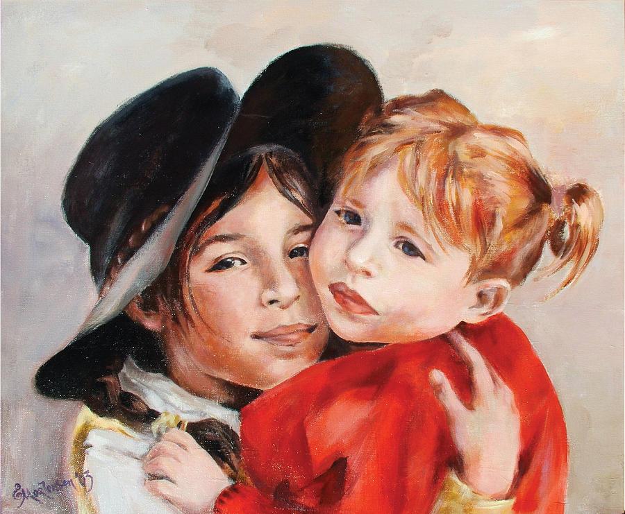 Portrait Painting - Sisters by Ekaterina Mortensen
