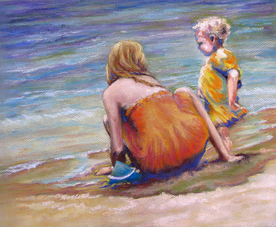 Children Pastel - Sisters Enjoy The Shore by Carole Haslock